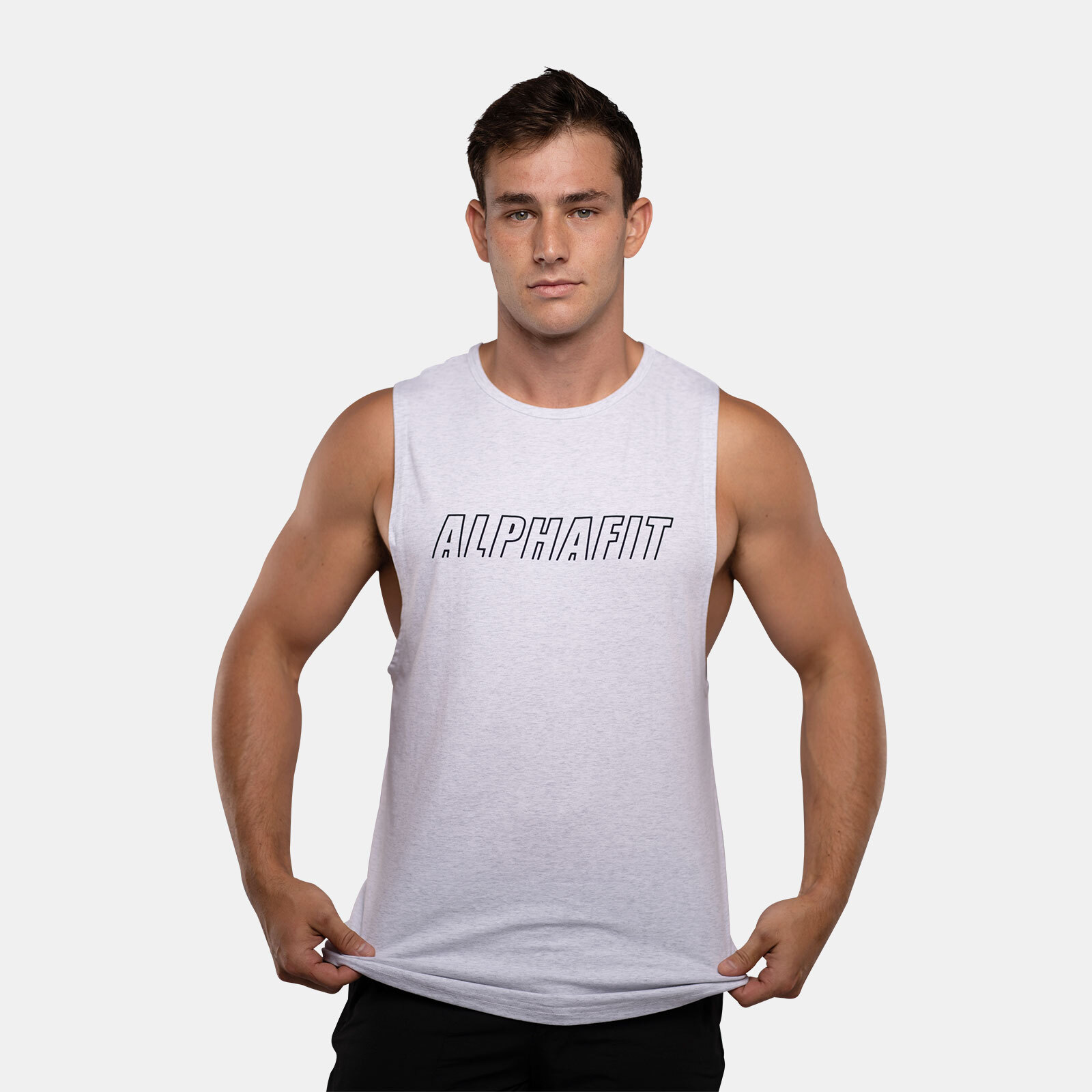 Stencil Muscle Tank - White Marle image